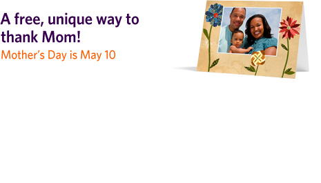 Kodak Gallery: Personalized Photo Card for Mom ($2.49 Value) for 99 cents!