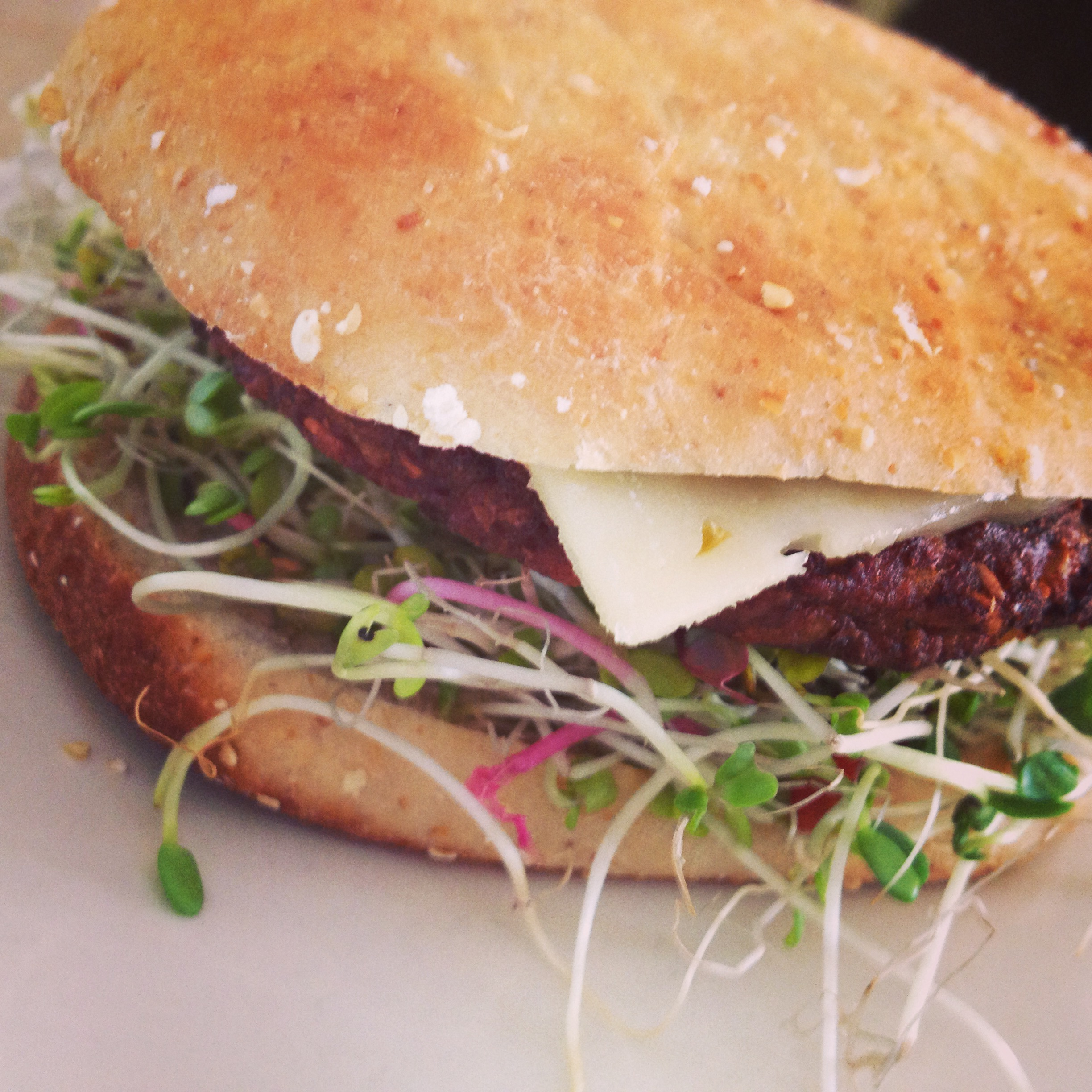 Meatless Monday: Veggie Burger With Pepper Jack & Sprouts