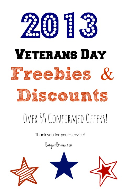 2013 Veterans Day Freebies and Discount List