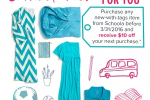 Schoola: Buy any NWT item, Get $10 off Your Next Order