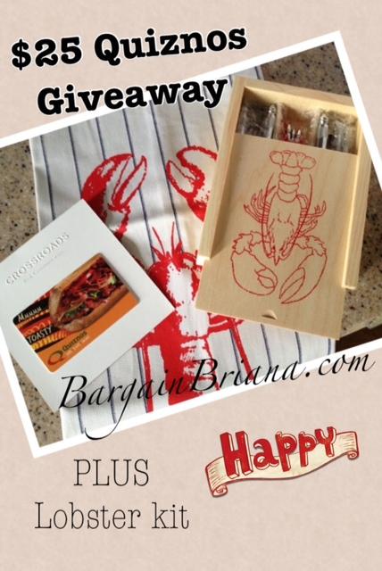 $25 Quiznos Giveaway Plus Lobster Kit at BargainBriana.com