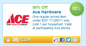 Ace Hardware: 50% off One Item on 11/26