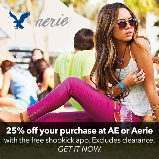 Shopkick: 25% off American Eagle and Aerie