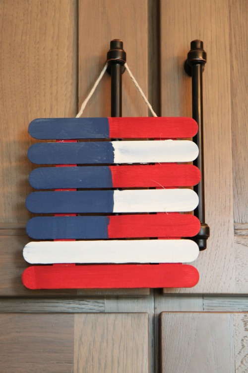 American Flag Made from Wooden Sticks - Easy Project for Kids