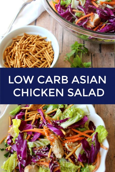 The perfect fresh and colorful salad to utilize leftover chicken. Asian Chicken salad is healthy, low carb with a tasty homemade Asian-style dressing.