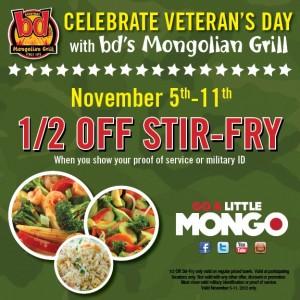 BD Mongolian Grill 300x300 bds Mongolian Grill Veterans Day Deal: 1/2 off Stir Fry (11/5   11/11)