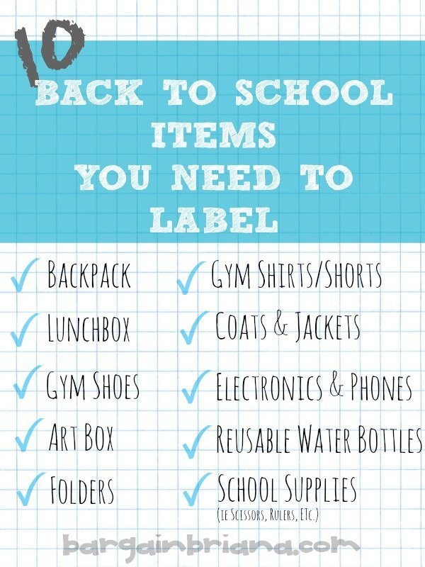 Back to School Items You Must Label