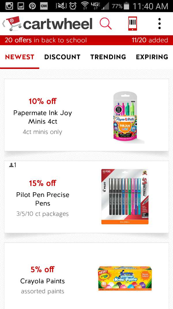 Cartwheel Back to School App Savings