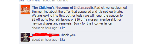 Fake Children's Museum Offer on Facebook