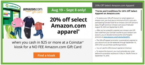 Pour $25 at Coinstar, get 20% off Amazon Apparel
