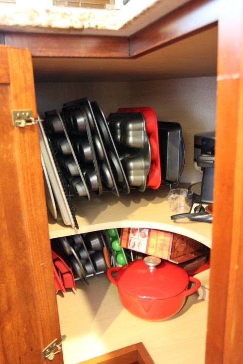Corner Cabinet Organization with lid storage racks to hold baking pans