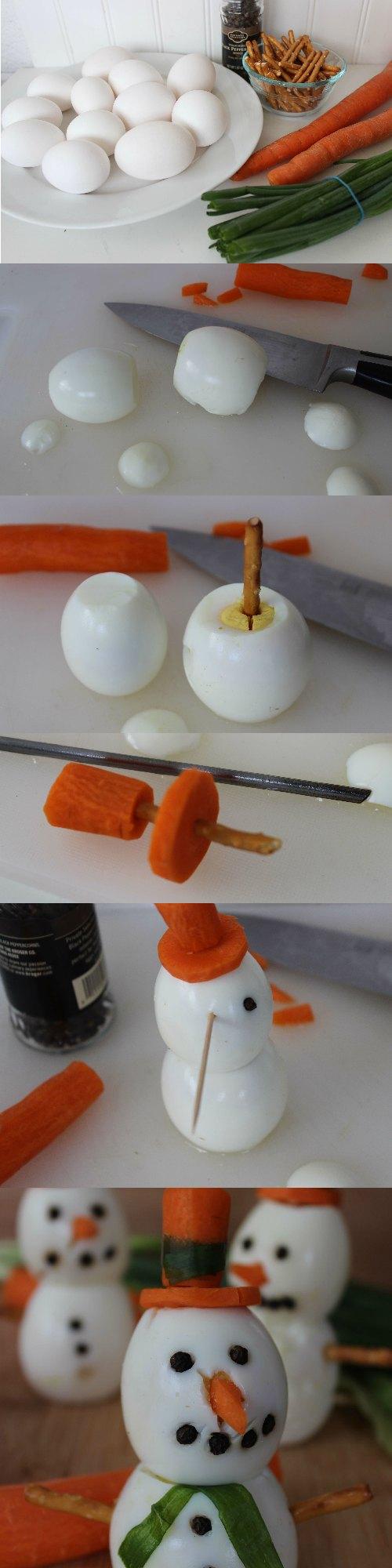 Creative Winter Healthy Snack - Boiled Egg Snowmen