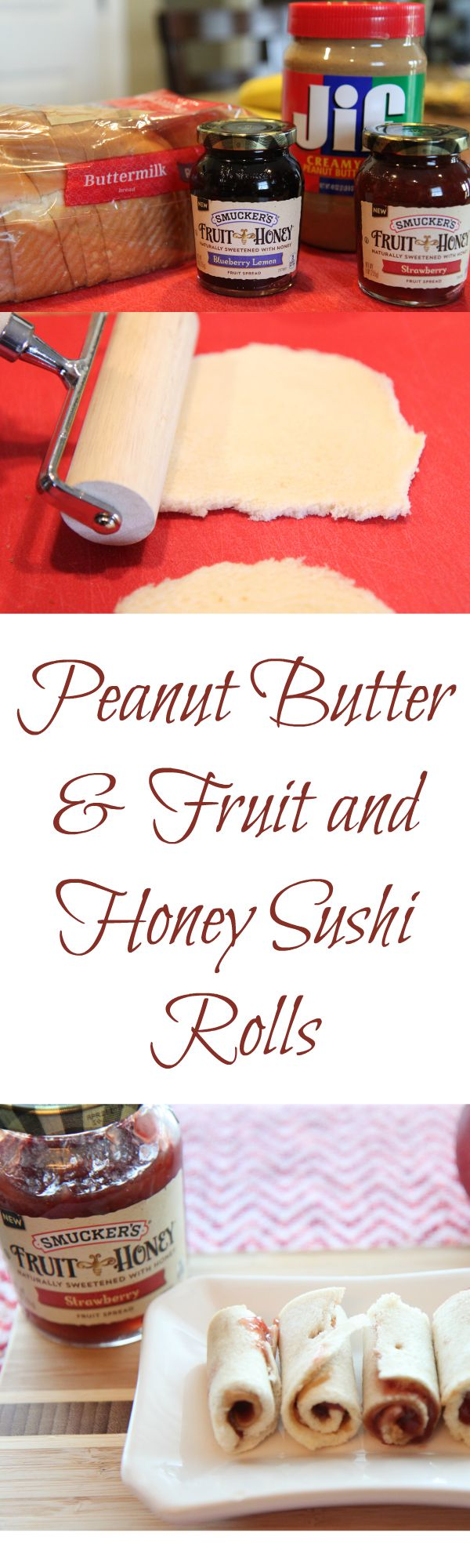Delicious Peanut Butter and Fruit and Honey Sushi Rolls