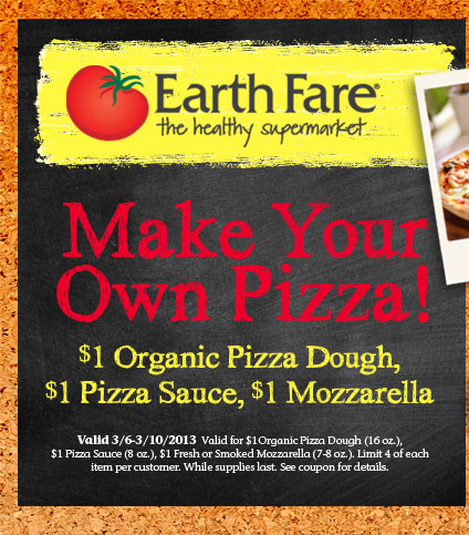 Earth Fare Printable Coupon Earth Fare: $3 for Pizza Ingredients Printable Coupon