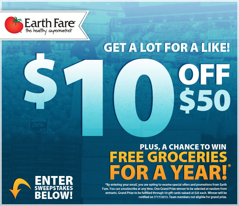 Earth Fare2 Earth Fare: $10 off $50 Printable Coupon