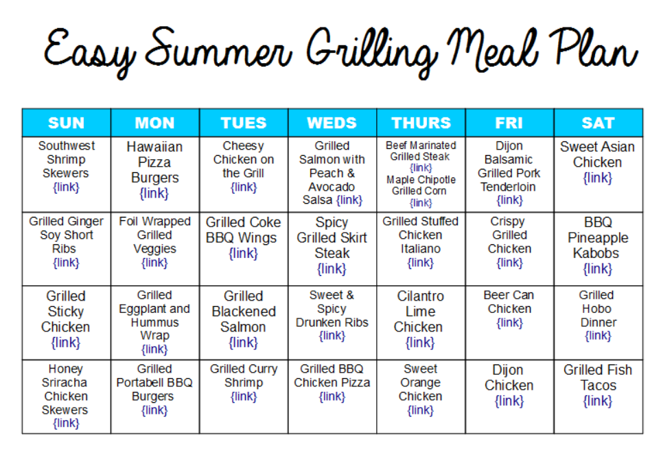 Easy Summer Grilling Meal Plan