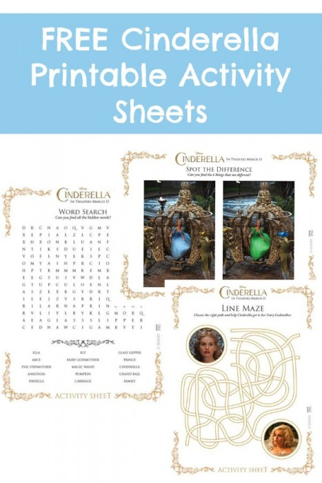 Free Cinderella Printable Activity Sheets