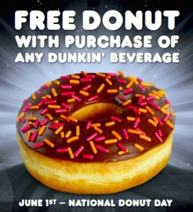 Free Donut 272x300 National Donut Day 2012 Deals