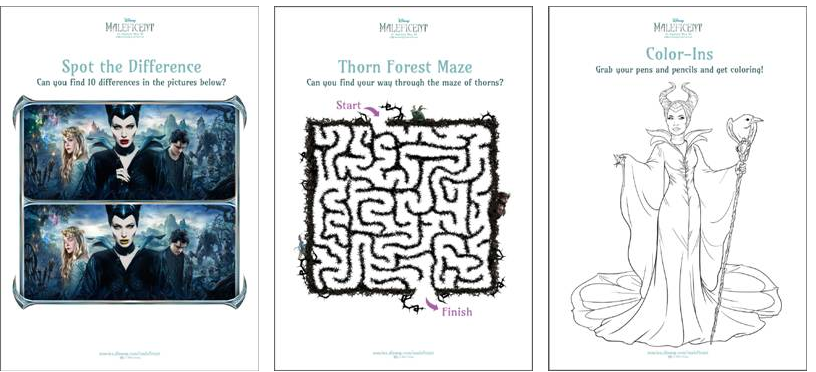 Free Maleficent Activity Sheets to print
