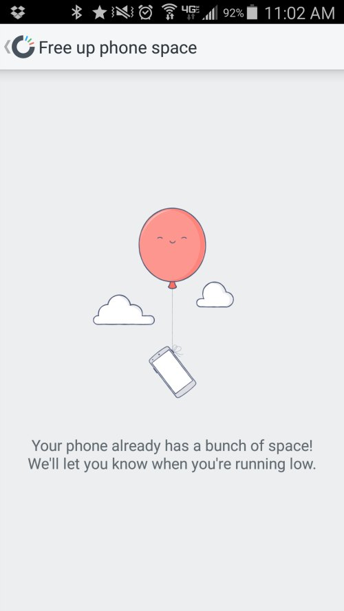 Free up phone space - carousel