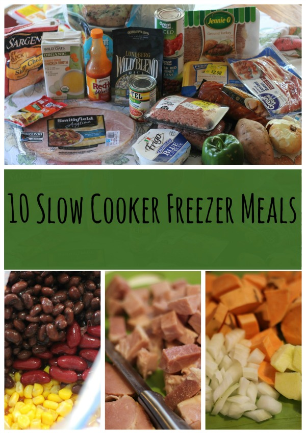 10 Slow Cooker Freezer Meals that take less than two hours to prepare. Save time and money with this easy meal prep technique and have delicious meals for your family.