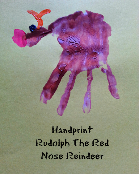Handprint Rudolph Red Nose Reindeer