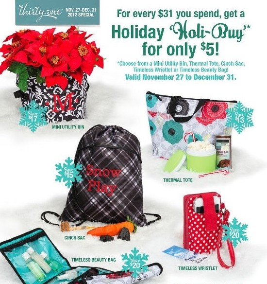 Thirty-One: $5 Holiday Specials