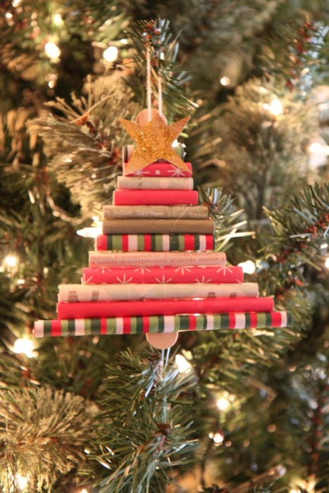 How to Save Money for the Holidays :: Homemade Christmas Tree Ornament Made from Scrap Paper