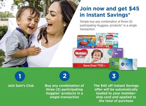 Join Sam's Club and Get $45 in Instant Savings When You Purchase Huggies Products