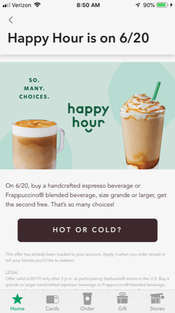 Starbucks Happy Hour 6/20: B1G1 Free Expressos & Frappuccino