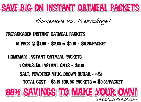 INSTANT OATMEAL PRICE COMPARE