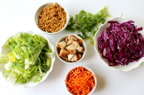 Salad ingredients for easy asian chicken recipe