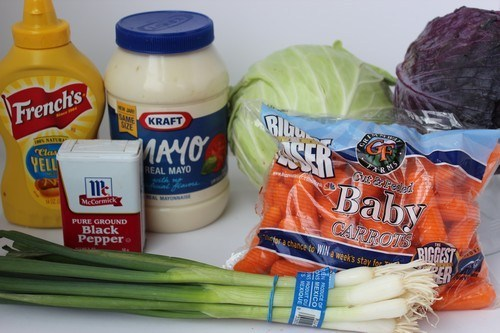 Ingredients for Homemade Creamy Coleslaw Recipe