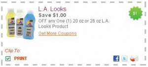 LALOOKS 300x137 New Printable Coupons: Kelloggs, Hefty, LA Looks, and more!