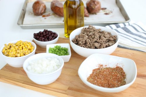 Ingredients for seasoned ground beef for a mexican flavored recipe.