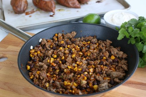 Seasoned ground beef with corn and black beans.