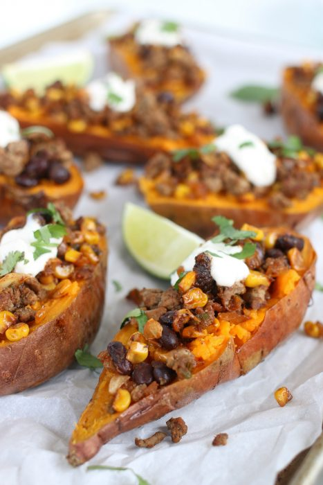 Closeup of easy baked sweet potatoes with mexican ground beef spices.
