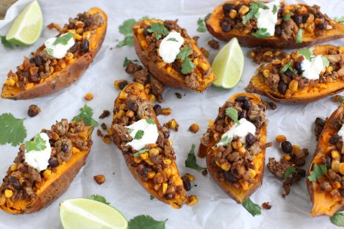 Baked sweet potatoes with ground beef and Mexican spices.
