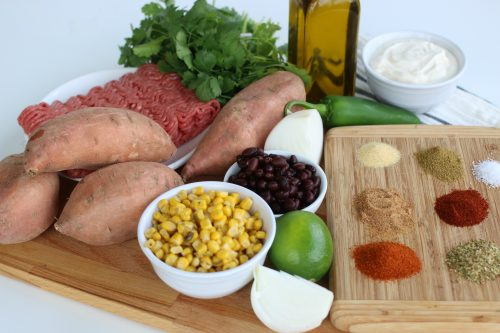 Ingredients to make Mexican Baked Sweet Potatoes