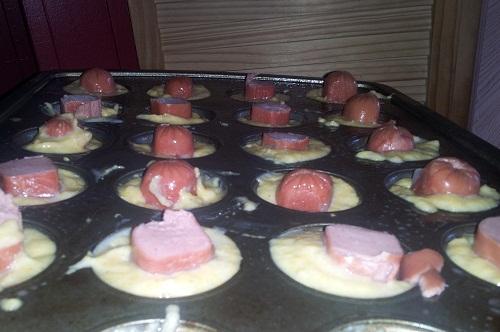 Mini Corn Dogs in Muffin Pan