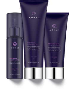 The Volume System is Revive Shampoo, Revitalize Conditioner, and the Reshape Root Lifter.  All are designed to work together to increase hair density, strength and manageability.