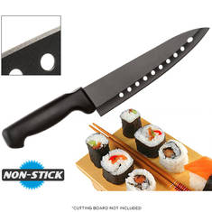 Non-Stick 8'' Sushi Chef's Knife with Stainless Steel Rocker Blade and Aerating Vents for Ultra-Smooth Cutting
