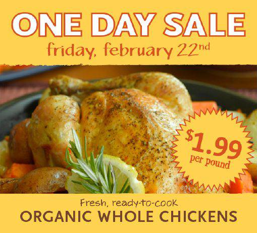 Whole Foods: Whole Organic Chicken $1.99/lb
