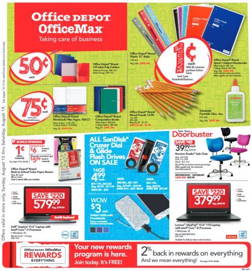Office Depot/Office Back to School 1¢ Deals Starting 8/13