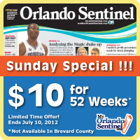 Orlando Sentinel: 52 Weeks for $10!