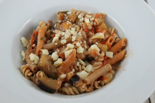 Pasta Eggplant made with Fresh Garden Veggies