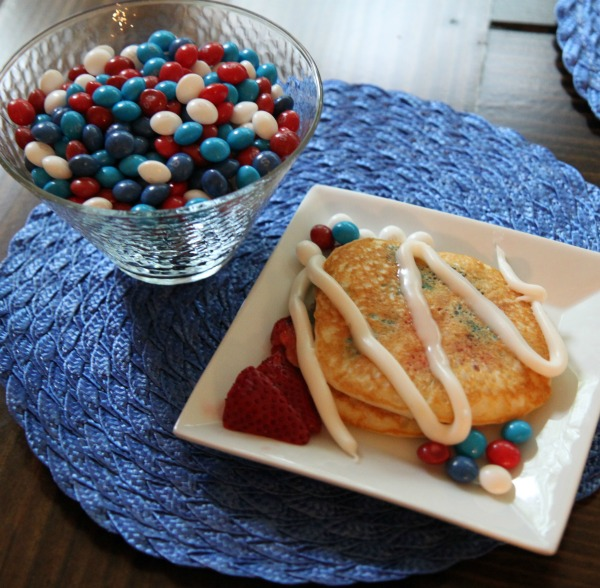 Patriotic Pancackes with Skittles