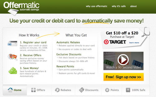 Offermatic: Automatic Deals + $10 off $20 Target Purchase