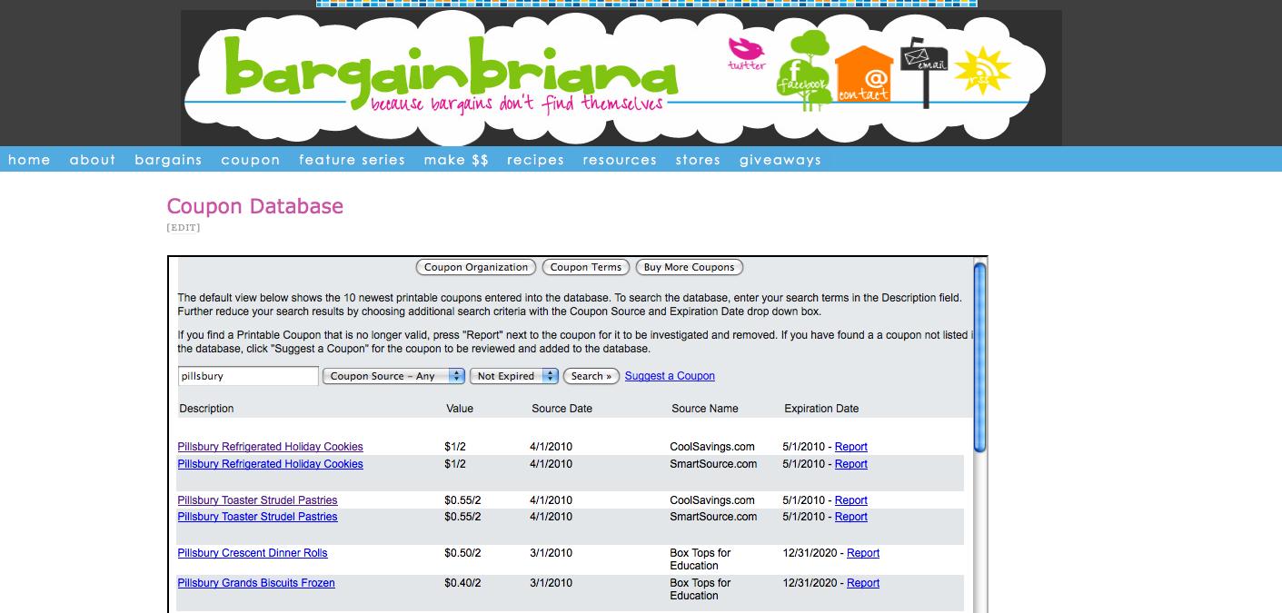 Introducing My Coupon Database Bargainbriana