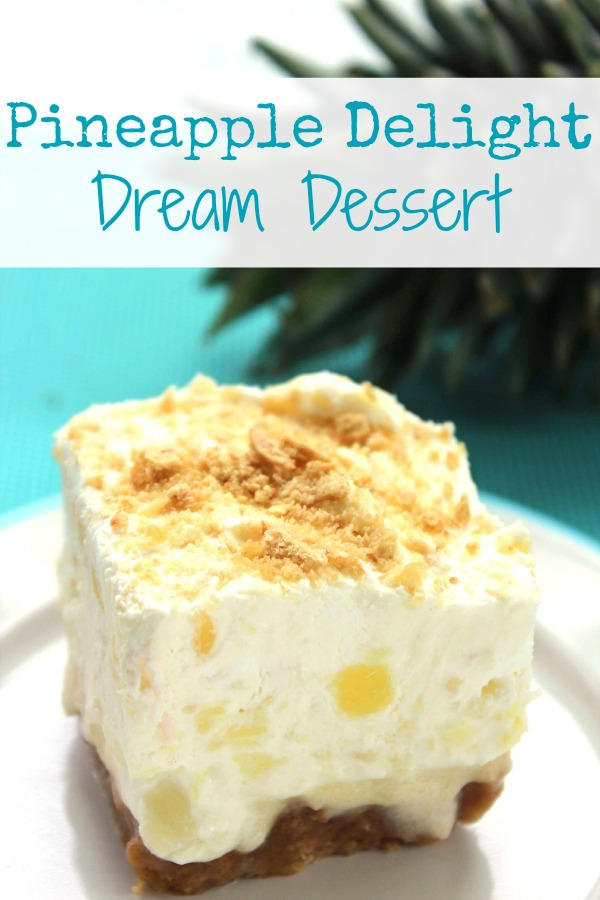 Between the sweet flavor and the refreshingly juicy texture, this Pineapple Delight Dream Dessert is sure to please. It feeds a crowd, which makes it a great dessert for your next summertime get together!